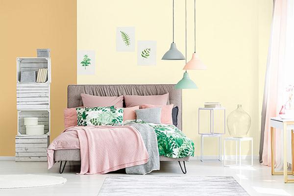 Phối màu phòng ngủ Back to Basics theo phong cách lãng mạn.